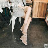 馬丁靴 如熙小短靴女冬季新款馬丁靴百搭網紅靴中跟短筒粗跟瘦瘦靴 都市時尚