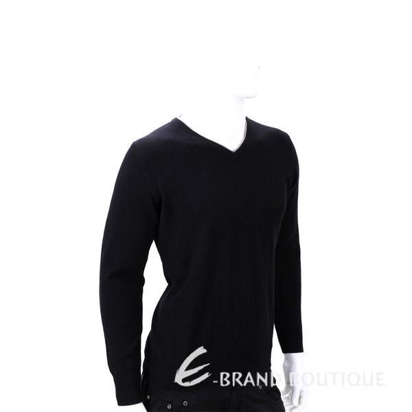 Andre Maurice 100% CASHMERE 滾邊V領肘拼接設計長袖毛衣(黑色) 1540065-01