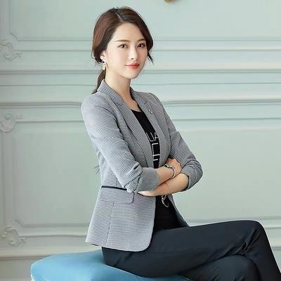 格子小西裝外套女韓版英倫復古CHIC寬松時尚短款休閑西服F062B紅粉佳人