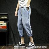 胖子夏天淺色水洗牛仔褲男七分褲加大碼日系潮流休閑小腳學生短褲  英賽爾3c