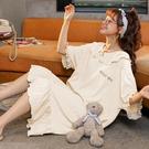 睡裙女夏季薄款2021年新款白色夏天大碼睡衣春秋可愛公主風家居服 璐璐