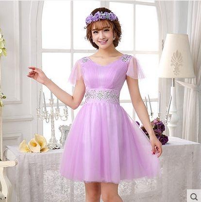 春裝大碼雙肩顯瘦紫色伴娘小禮服短結婚敬酒演出連衣裙-ming004