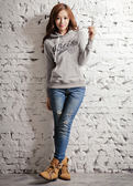 【BTIS】斑點法蘭絨女連帽T恤 淺麻灰色