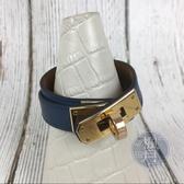 BRAND楓月 HERMES 愛馬仕 A刻 深藍 KELLY 雙圈 手環 飾品 配件