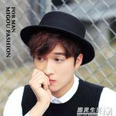 韓版新款帽子男英倫紳士禮帽羊毛呢女平頂街拍休閒情侶禮帽潮  遇見生活
