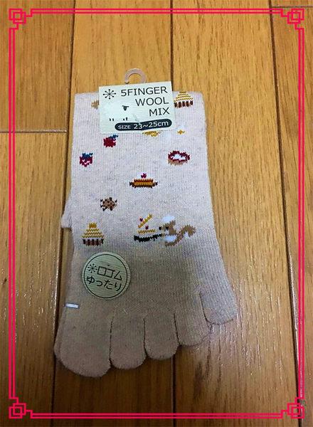 【京之物語】日本帶回5FINGER點點小花女性五趾短襪