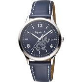 agnes b. 巴黎城市戀人腕錶-藍/36mm V157-0BR0B(BZ7002P1)