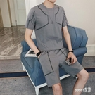 休閒運動套裝男士2020夏季新款韓版潮流短袖兩件套寬鬆圓領上衣服 LR19310【Sweet家居】