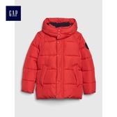 Gap男童 高領長袖拉鏈連帽棉服外套 473913-正紅色