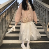 秋冬新款甜美學院風寬鬆加厚保暖仿水貂毛長袖外套女裝兩件套 雅楓居