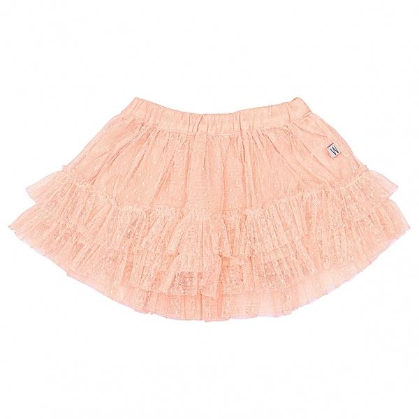 澎澎裙/裙子 Wheat 點點雙層蕾絲裙擺澎澎裙 珊瑚粉橘 S162513078