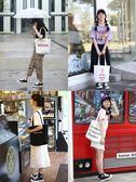 手提袋帆布女單肩正韓學生慵懶風帆布包原宿大容量購袋【交換禮物特惠】