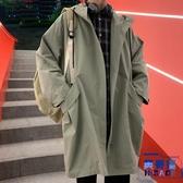 風衣外套男秋季韓版連帽工裝夾克中長款過膝寬鬆大衣【英賽德3C數碼館】
