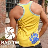 奢華壞男《 熊掌限量款 - 超舒適合身彈性挖背背心 (黃底滾藍邊) 》【S / M / L / XL 】(潮T、上衣)