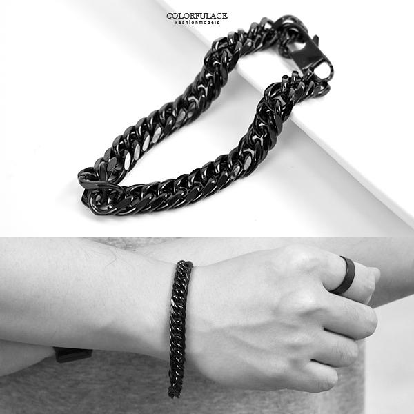 白鋼手環 個性黑環扣環手鍊NAM14