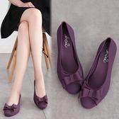 雨鞋 果凍鞋防水蝴蝶結淺口坡跟果凍鞋 631-099巴黎春天