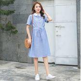 初心 韓系 洋裝 【D6877】 條紋 OL 上班族 襯衫洋裝 短袖 娃娃領