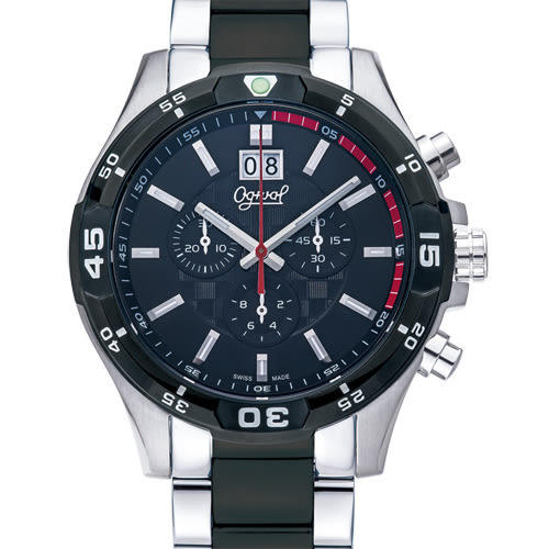 Ogival 瑞士愛其華  精銳戰將三眼計時石英腕錶-雙色/45mm