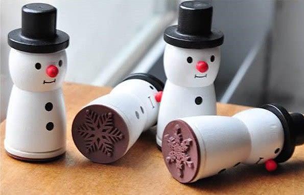 【發現。好貨】韓國文具 唯美雪人木質印章 小清新雪花圖案 裝式印章 聖誕禮物