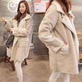 韓版羊羔毛外套女中長款鹿皮絨大衣學生棉服外套倉庫清倉25662快時尚