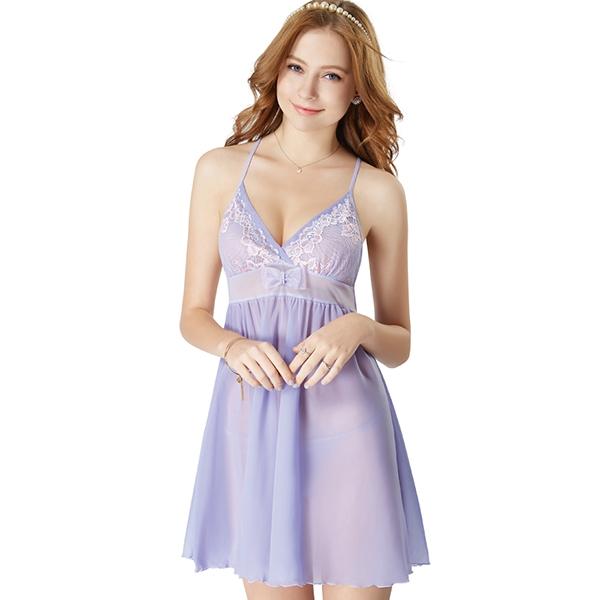 思薇爾-花遊季系列連身蕾絲性感小夜衣(蘭花紫)