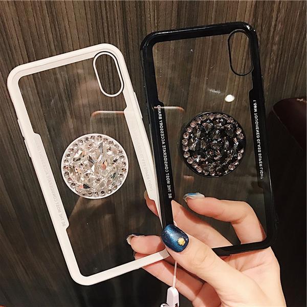 (附掛繩)三星A70 A50 A30s A20 A30 S10 S10+ Note9 Note8 Note5 A7 A9 2018透明背面鑲鑽支架手機殼