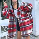 單口袋連帽造型、厚棉毛呢格紋外套