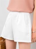 韓版雪紡高腰短褲女夏新款寬鬆顯瘦百搭黑色西裝闊腿a字熱褲 瑪麗蘇