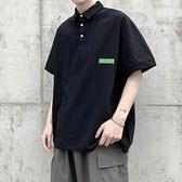 短袖Polo衫 貼布純色短袖POLO衫T恤男加肥加大碼潮胖子寬鬆體翻領夏季裝簡約 非凡小鋪 新品