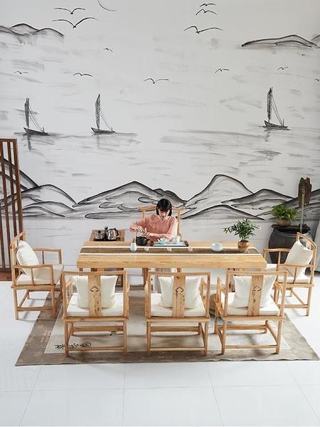 茶几 原木茶桌椅組合實木喝茶藝功夫茶幾新中式泡茶臺簡約現代客廳茶桌【快速出貨】
