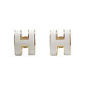 【台中米蘭站】展示品 HERMES 經典 Pop H 立體簍空橢圓Logo耳環(白/金)