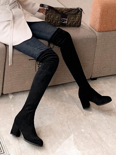長靴 長靴女過膝2021秋冬新款彈力顯瘦長筒靴粗跟薄款高筒靴中高跟女靴 交換禮物