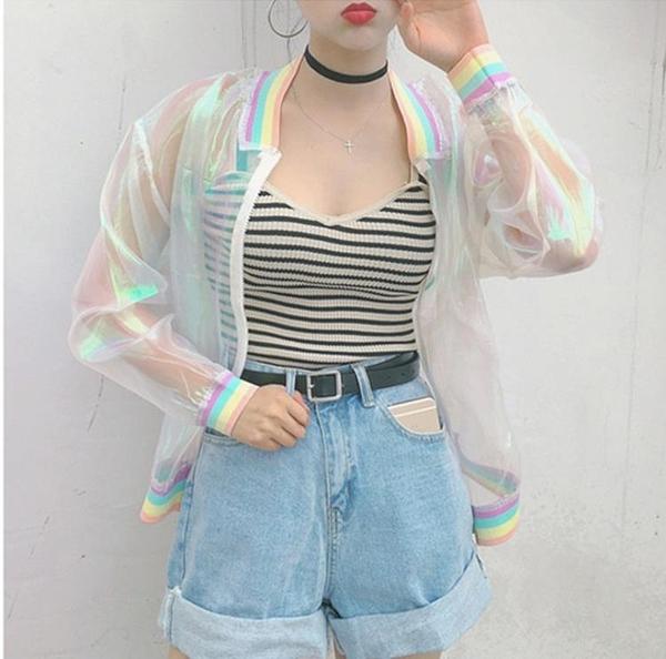 [超豐國際]夏季七彩色彩虹領螺紋蝙蝠衫寬松外套棒球衫防曬服女(1入)