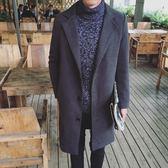風衣外套-毛呢時尚簡約百搭中長版翻領男大衣3色73ip57[時尚巴黎]