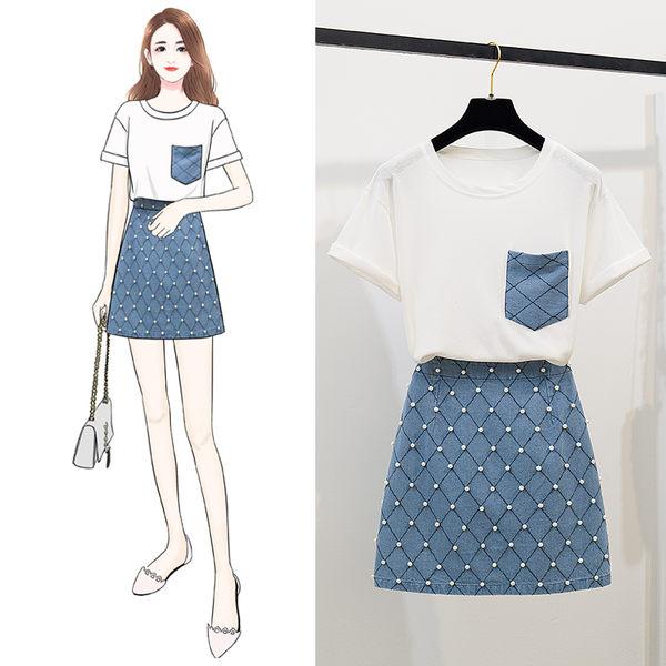 VK旗艦店 韓系高腰釘珠牛仔裙套裝短袖裙裝