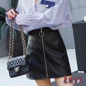 A字小皮裙 2019春夏新款半身裙女高腰pu裙子a字裙短裙包臀裙 BT2062【花貓女王】