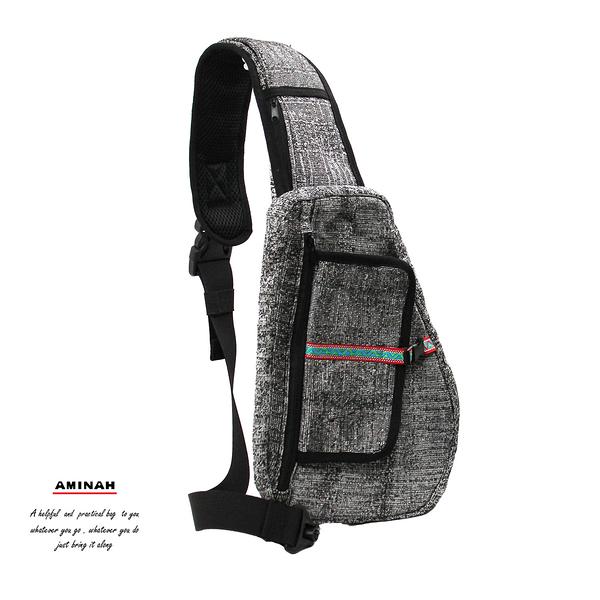 防割胸前式背包-黑灰色 AMINAH~【Anti-Cut-02】