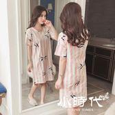 睡衣 女夏季短袖純棉寬鬆大碼學生睡裙女夏天性感可外穿秋