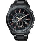 CITIZEN 亞洲限量光動能萬年曆腕錶-黑x玫瑰金/43mm BL5545-50E