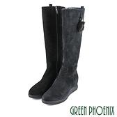 (深藍39) 女款牛麂皮內增高長靴【GREEN PHOENIX】U35-27811