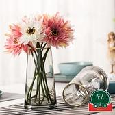 客廳家居裝飾插花花器擺件描金北歐T型簡約玻璃花瓶【福喜行】