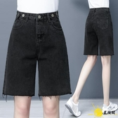 黑色牛仔短褲女寬鬆直筒夏季薄款2020新款潮高腰顯瘦中褲五分熱褲