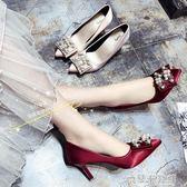 流行高跟鞋 婚鞋女春新款單鞋女細跟尖頭高跟鞋水鉆珍珠搭扣淺口鞋香檳色 米蘭潮鞋館