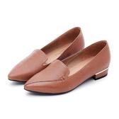 MICHELLE PARK 自信焦點  拼接尖頭金屬鑲嵌樂福鞋-橘棕