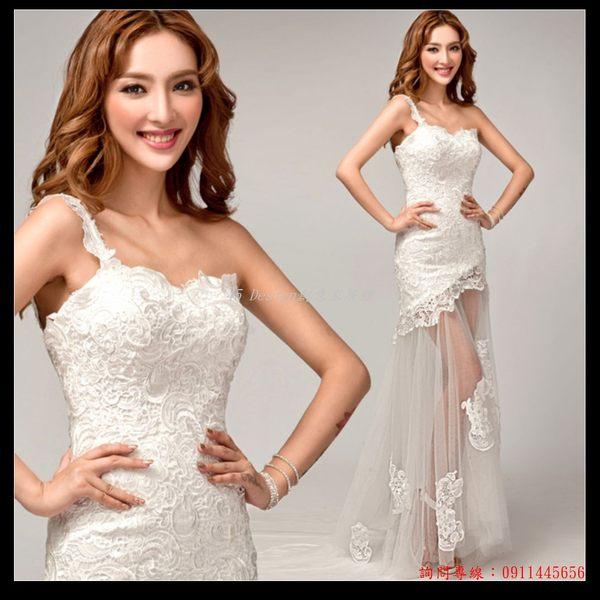 (45 Design) 訂做款式7天到貨  韓式單肩蕾絲前短後長透視新娘魚尾拖尾婚紗禮服