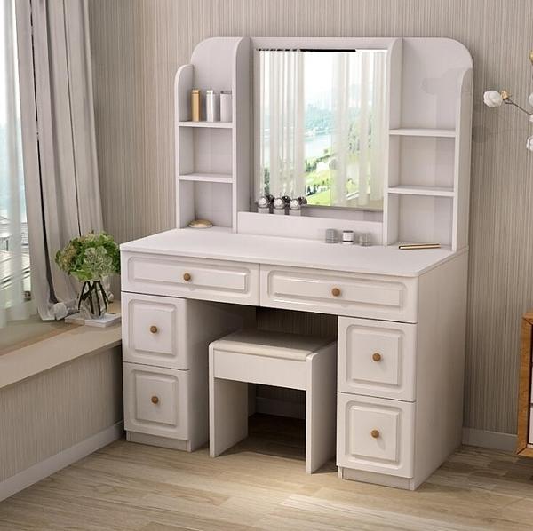 梳妝臺臥室簡約現代小戶型書桌一體組裝化妝桌實木色桌子帶鏡子 亞斯藍
