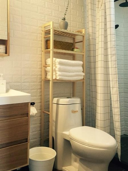 衛生間馬桶置物架落地多層實木洗手間廁所臉盆浴室免打孔收納架子ATF 美好生活居家館