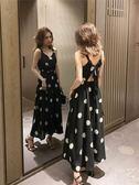 無袖洋裝 夏裝2019新款韓版海邊度假沙灘雪紡裙法式復古長裙很仙波點連衣裙『快速出貨』