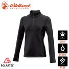 【Wildland 荒野 女 Polartec PSP彈性功能衣《黑》】P2603/半領襟/運動衣/休閒衫/吸濕排汗