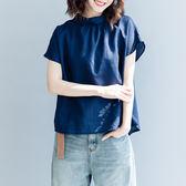 棉麻襯衫 寬鬆 直筒型 小翻領 背後鈕扣 短袖襯衫/2色571536128035-夢想家-0622
